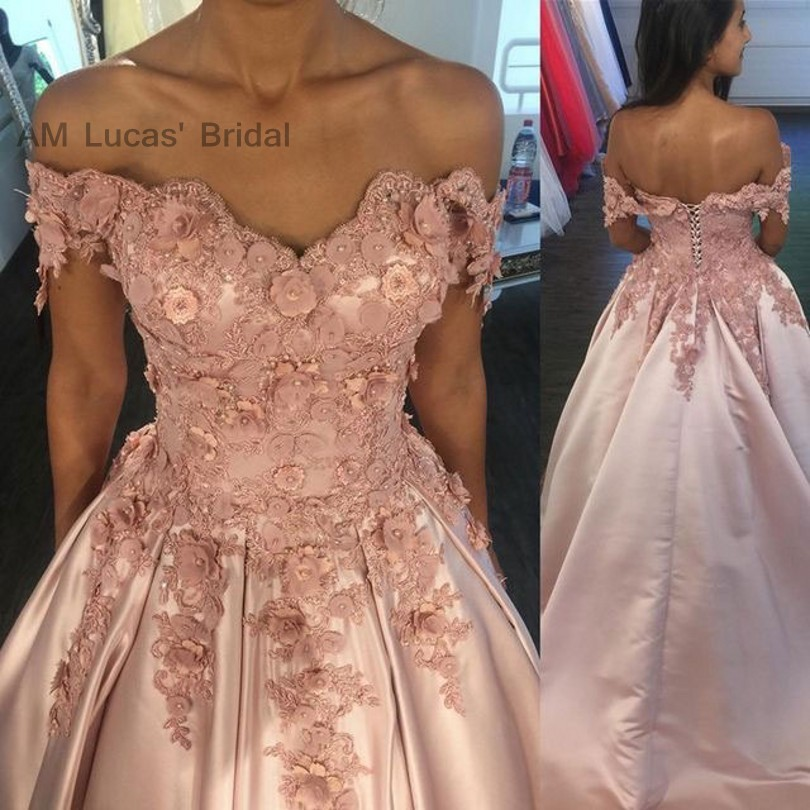 Long   Evening     Dresses   For Wedding Women Handmade Flowers 2019 New Formal Party Gowns Vestido De Festa