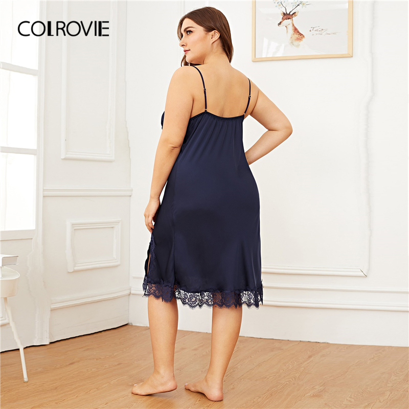 COLROVIE Plus Size Navy Contrast Lace Split Side Satin Cami Night Dress 2019 Spring Fashion Ladies Sleeveless Sexy Nightgowns