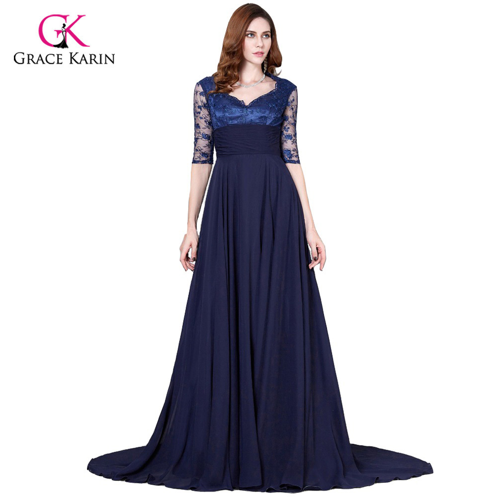 Popular Plus Size Navy Evening Gowns with Sleeves-Buy Cheap Plus ...