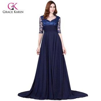 Vestido boda azul marino largo