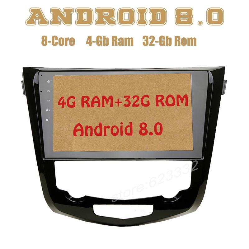 Android 8.0 gps do rádio de carro para nissan X-trail Qashqai com núcleo octa PX5 4G RAM 32G ROM wifi 4g usb Stereo Auto Multimed