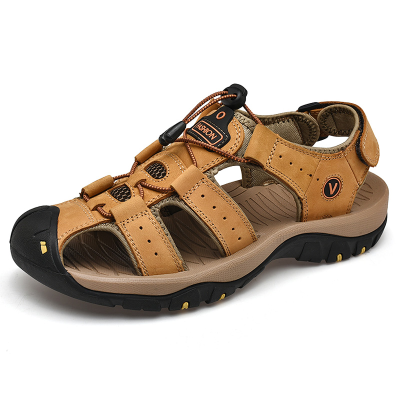 Image 5 - Men Leather Outdoor Sandals Trekking Sandalias Hombre Mens Shoes Sandal Summer Man Sandles Sandali Uomo Casual Slip On PlatformMens Sandals   -