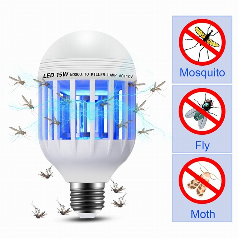 AC 220V E27 E26 UV LED Bulb 15W Electric Mosquito Killer Lamp Insect Trap Light Anti Repellent Bug Zapper For Home Baby Lighting