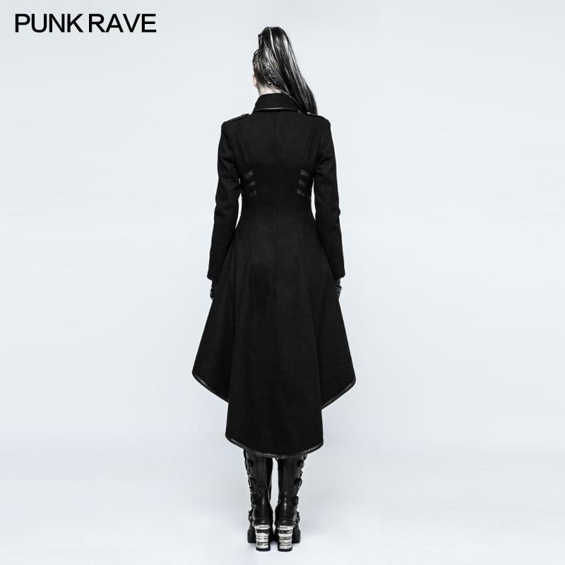 PUNKRAVE, chaqueta Punk militar para mujer, chaqueta de lana con cuello alto, abrigo de talla grande, negro, motocicleta, Casual, señoras, prendas de vestir, gabardina - 3