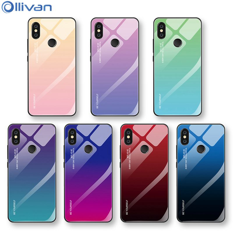 Gradient Tempered Glass Phone Case For Xiaomi Redmi Note 7 6 5 Pro 6A 6 Pro A2 Lite Pocophone F1 For Mi8 Lite A1 A2 MAX 3 Cover redmi note 7 pro cover