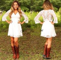 2019 Short Lace Cowgirls Country Wedding Dresses with 3/4 Long Sleeves Mini Bridal Gowns Reception Dress Vestido De Novia V Neck