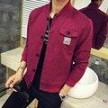 Новый Бренд Осень Зима мужская Бейсбол Куртки Однобортный Хлопка Красный Черный Повседневная Куртка Мужчины Ветровка Пальто Мужчины