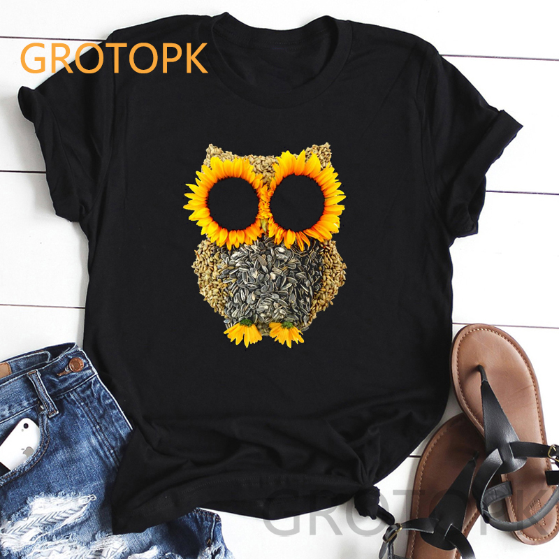 Summer Women's Fashion Sunflower Owl Aesthetic T-shirt Short Sleeved Soft Polyester Black T-shirts BFF Friends ART Prints Tshirt