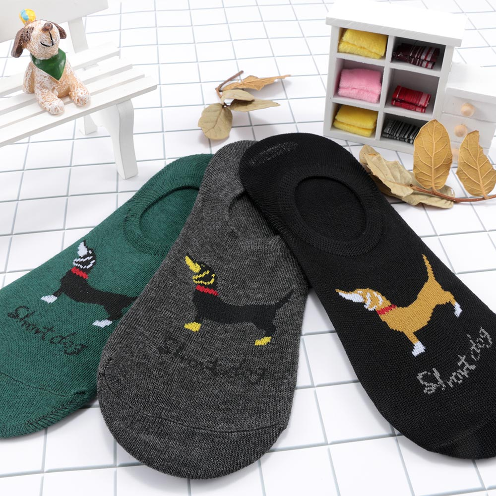 1Pair Men Scoks Cartoon Dachshund Dog Soft Ankle Sock Lovely Animal Invisible Cotton Solid Socks Hot