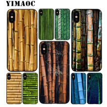 YIMAOC di bambù Arte Naturale Molle di TPU Custodia In Silicone Nero per iPhone X o 10 8 7 6 6S Plus 5 5S SE Xr Xs Max(China)