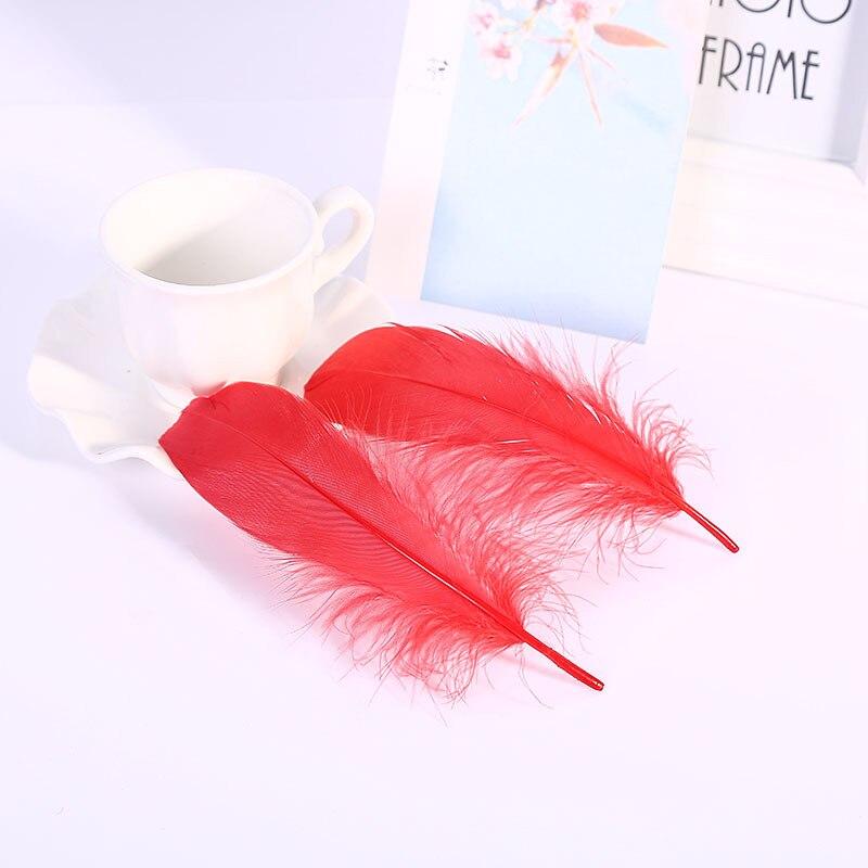 Натуральные лебединые перья 14-20 см, многоцветные гусиные перья, шлейф для рукоделия, свадебных украшений, рукоделия, украшения для дома, 50 шт - Цвет: Red 50pcs
