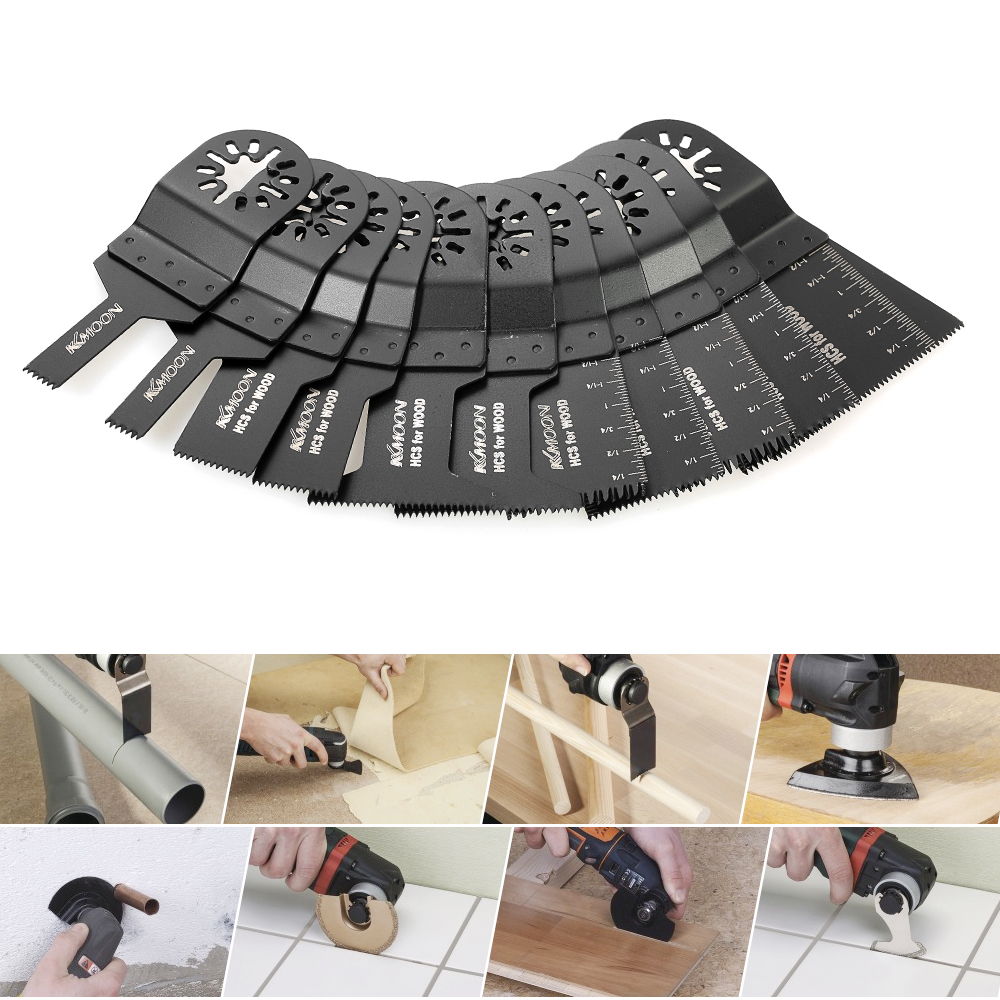 KKmoon 11pcs Oscillating Saw Blade Multi Tool Saw Kit for renovator Dremel Fein Multimaster Makita Bosch power tool Accessory