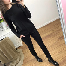 Crop Top And Skirt Set Real Cotton Polyester Full 2017 Spring New Women's Suits Simple Fashion Solid Color Shirt + Pants 2 Sets