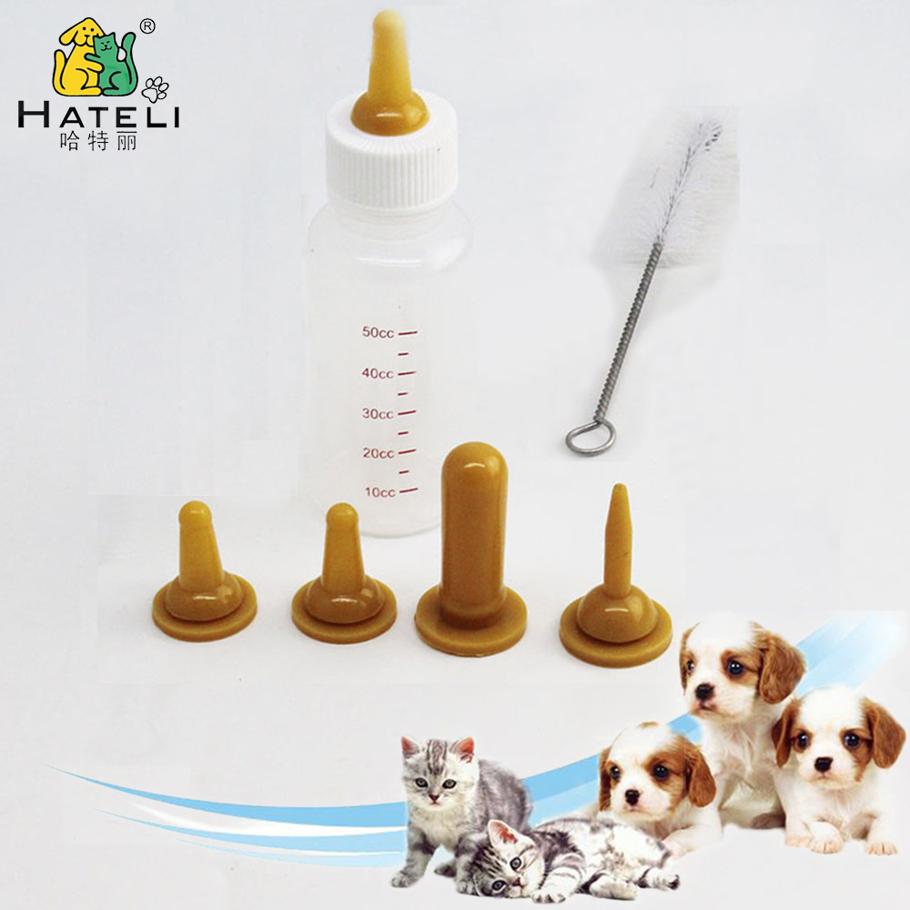 Puppy Feeding Bottle Cat Baby Nursing Bottle Pet Milk Feeder Kitten With Cleaning Brush Small Dog Water Feeders For Dog Six-pcs