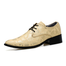 Cheap Snakeskin Surfae Dress Shoes Men Lace Up Black Gold Silver Party Derby Shoes Designer Spring Casual Formal Leather Shoes