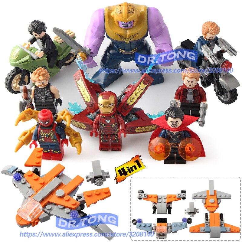 80 PCS/LOT Avengers INFINITY WAR Super héros Hulk Corvus Glaive Thanos Iron Man Spiderman bâtiment Blocsk briques jouets DLP9077