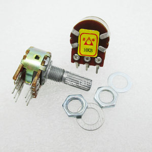 5PCS/LOT B10K 10K OHM WH148 6Pin Linear Dual Rotary Potentiometer Pots Shaft 20MM With Nuts And Shim