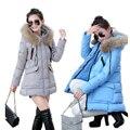 2016 de Invierno Por la Chaqueta Mujeres Abrigo Parka Engrosamiento FB6036 Snowimage Abrigos de Mujer Ropa de Abrigo de Cuello de Piel de Alta Calidad