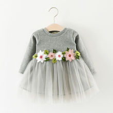 Baby Girls dress Flower long sleeve For Party Prom