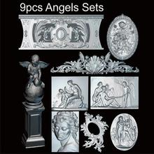 9pcs Angels 3d model STL relief for cnc STL format Angel 3d model for cnc stl relief artcam vectric aspire