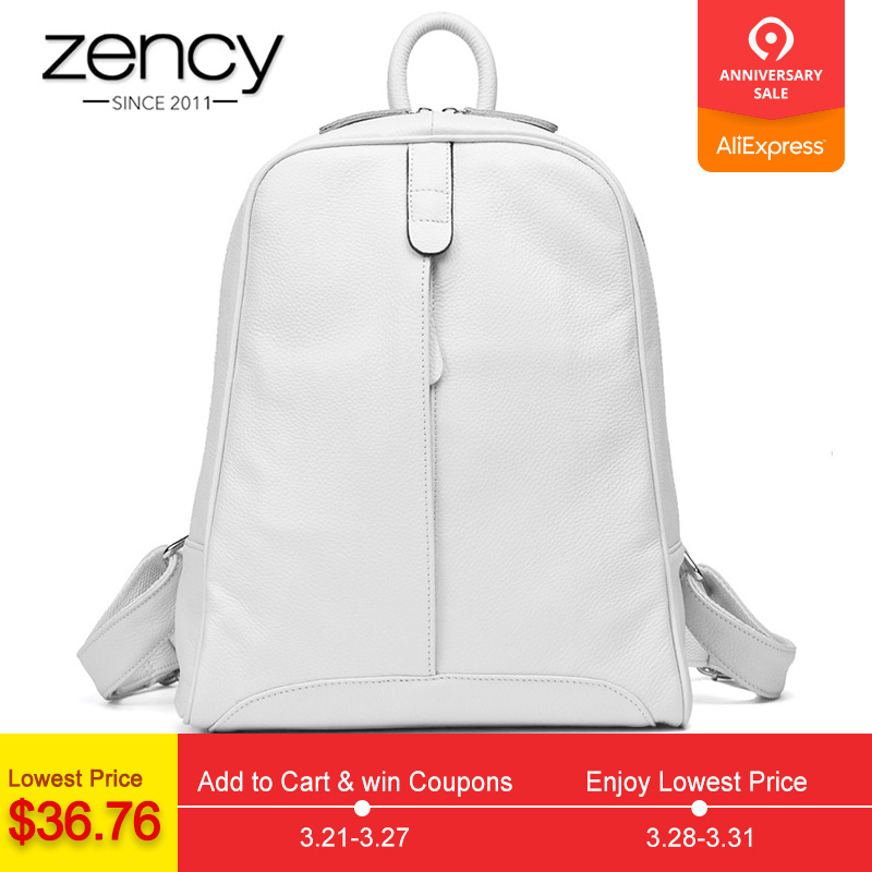 Zency 100% Genuine Leather Fashion Women Backpack Casual Tra