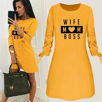 Wife Mom Boss Letters Print Dress Round Neck Solid Color Beach Clothing Summer Women Dresses Vestidos Party