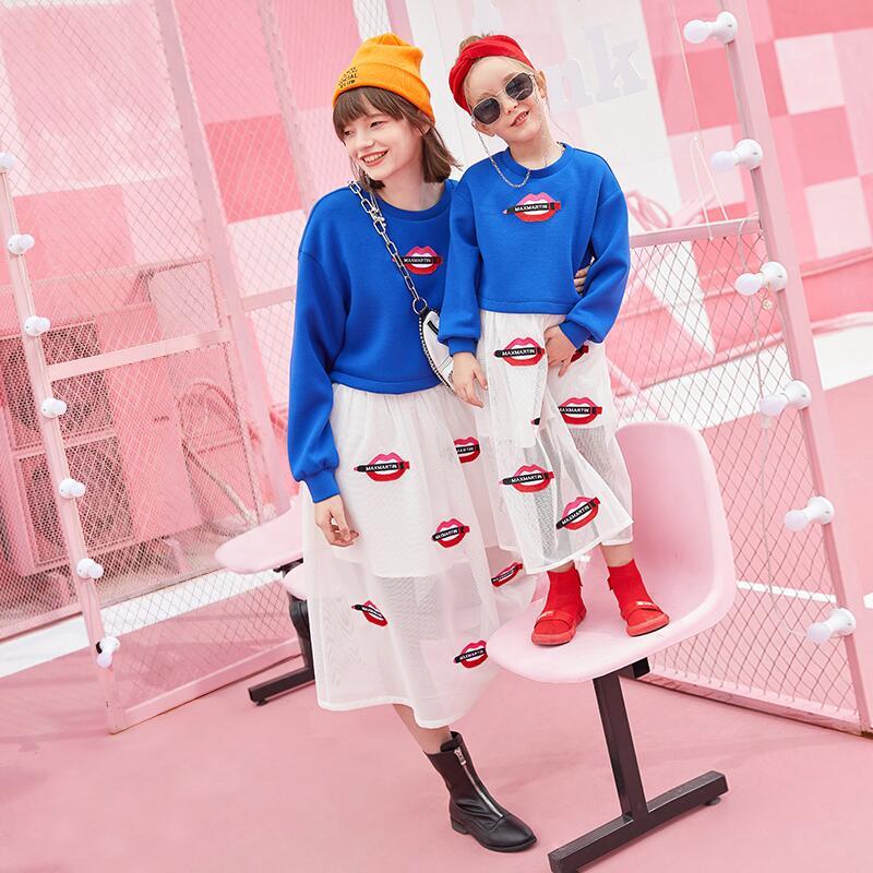 2019 moda Primavera família roupas combinando bordados lábios vermelhos moletons + saias mãe e filha duas peças - 4