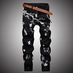 Мужские повседневные джинсы с цветочным принтом, облегающие джинсовые брюки для бега, уличная одежда в стиле хип-хоп, черный цвет, WA110, 2019