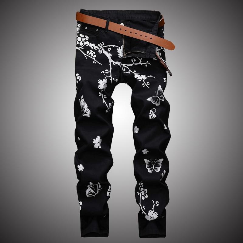 Flower Print Casual Jeans Pants Men Slim Fit Denim Pant Jean Joggers 2019 Men Hip Hop Streetwear Trousers Clothing Black WA110
