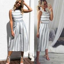 Women Jumpsuits - 2018 New design Fashion gray-white stripe popular jumpsuits Cotton Linen Loose Casual Playsuits