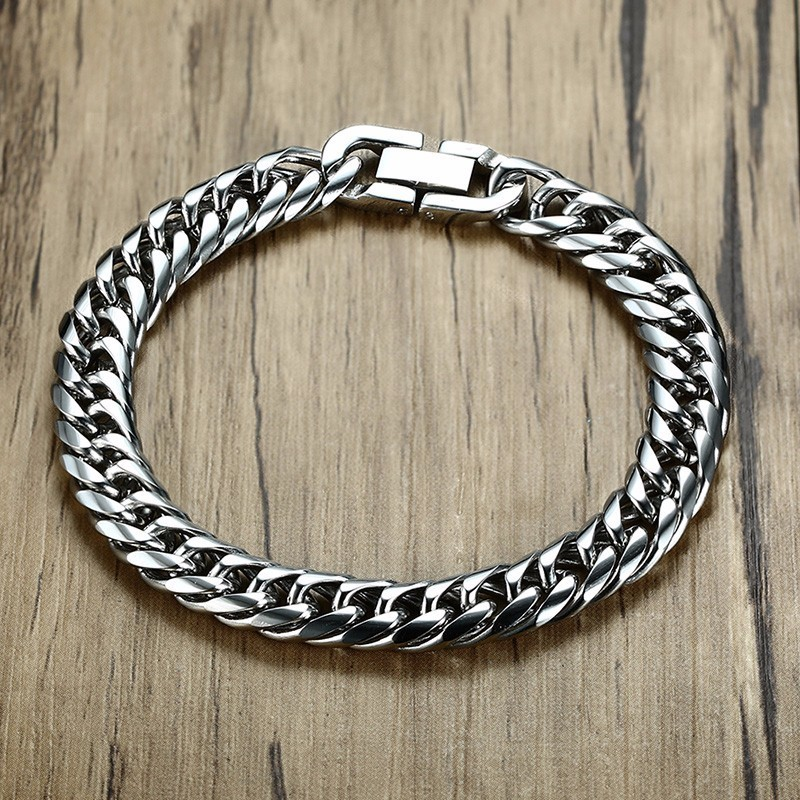 Miami Cuban Link Mens Bracelet in Silver Tone Stainless