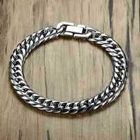Miami Cuban Link Mens Bracelet in Silver Tone Stainless Steel Heavy Armband Pulseira bileklik Male Jewelry 8-14 mm 21-22cm