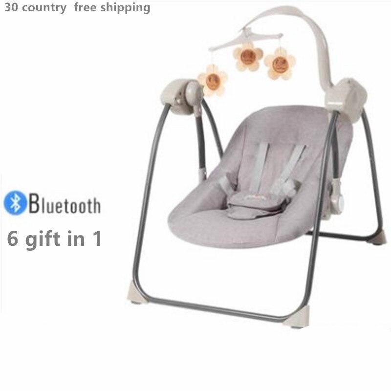 Balançoire bébé videurs électriques, pulls et balançoires chaise berçante bébé berceau inclinable avec bébé sucette bébé secouer lit panier
