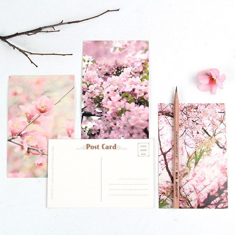 30 Pcs/pack Cute Pink Flower Postcard 14.3*9.3cm Message Greeting Card Gift School Office Supplies
