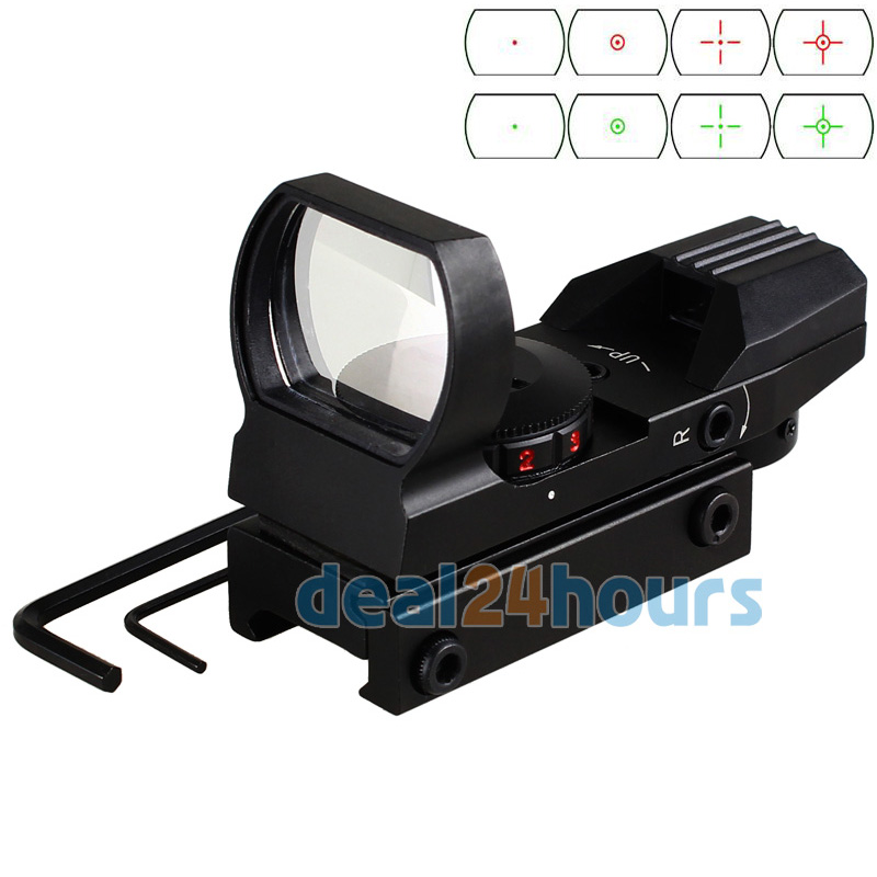 Holographic 4 Reticle Red/Green Dot Tactical Reflex Sight Scope With 20mm Rail Mount For Gun 33mm New Free Shipping!