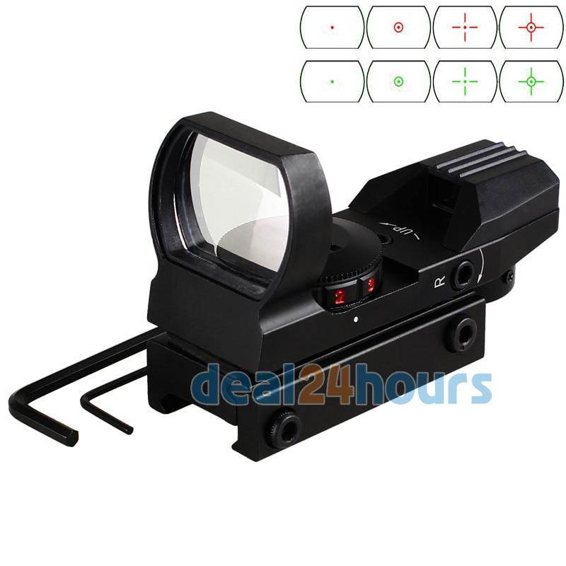 Holográfico 4 retículo Rojo / verde Punto táctico Reflex Sight Scope con 20 mm Montaje en riel para pistola 33 mm Nuevo Envío gratis