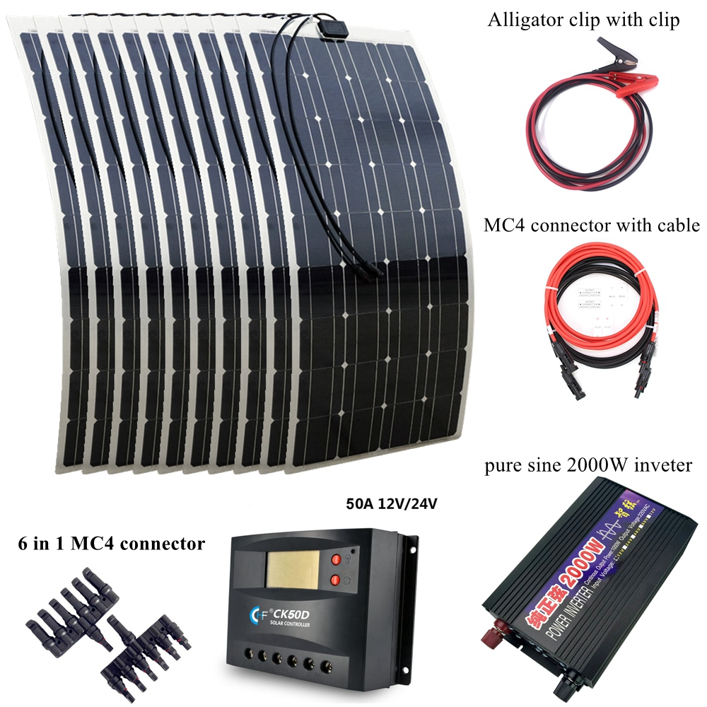 1000W Solar Power Syetem Includes 10pcs 100W Solar Panel 2000W Pure Sine Wave Inverter 30A Controller and Connection Cables