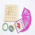 Montessori Brinquedo do bebê Gráficos Criativos Borracha Tie Prego Placas com Cartas Preschool Educação infantil Crianças Brinquedos Juguetes