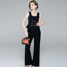 Elegant Office Lady Formal Two Piece Outfits 2018 Summer Brand Fashion Women's Pants Set Sleeveless Crop Top+Long Pants Suit Set