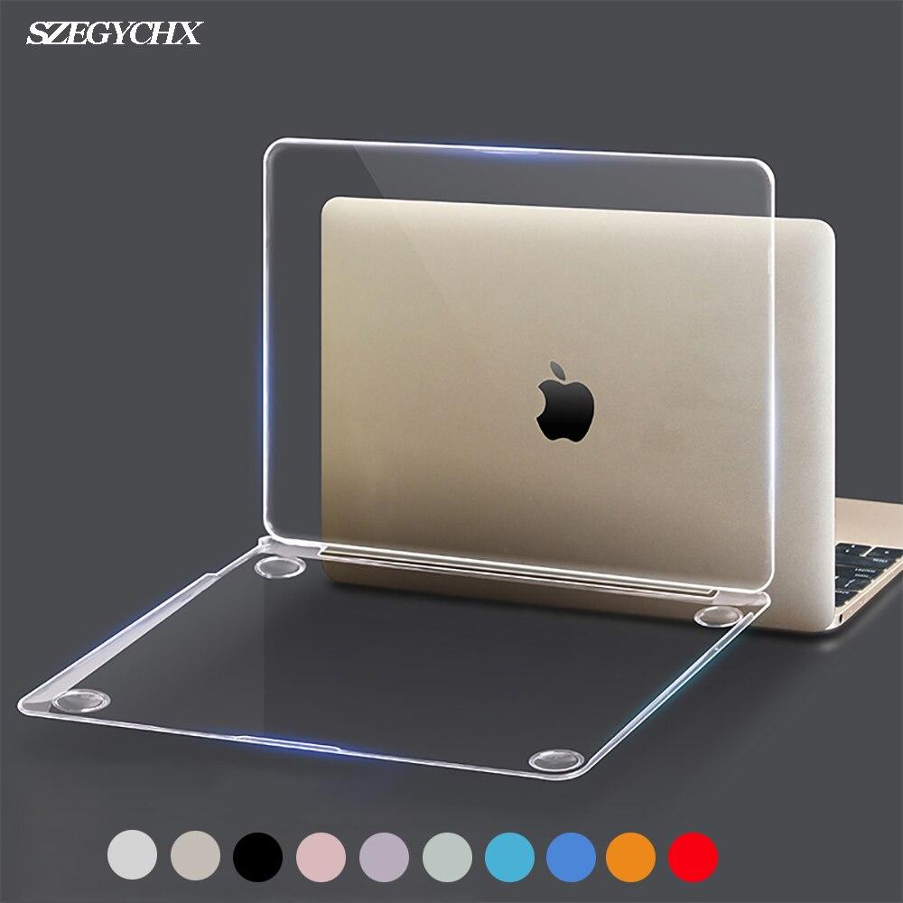 Cristal caso do portátil para macbook touch id a1932 2018 capa, para macbook ar 13 a1466 a1369 pro retina 11 12 13 15.4 15 casca dura