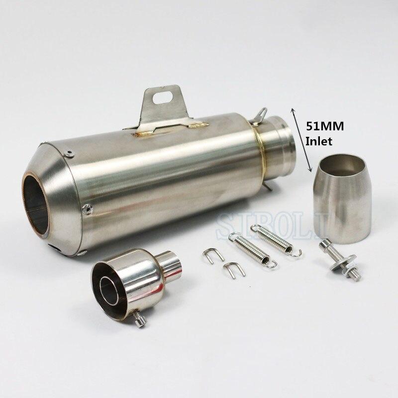 51mm universel moto pot d'échappement en acier inoxydable d'échappement pour HONDA KAWASAKI mt07 mt09 z800 z1000 CBR250 125 ER6N AK089