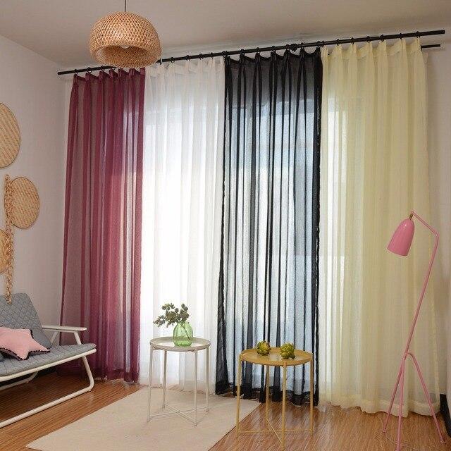 A Buon Mercato le ultime 4 Colori Bianco Finestra Tende di Tulle per il Soggiorno Soild Puro Draps Balcone Decorazione Cortinas sulla Finestra