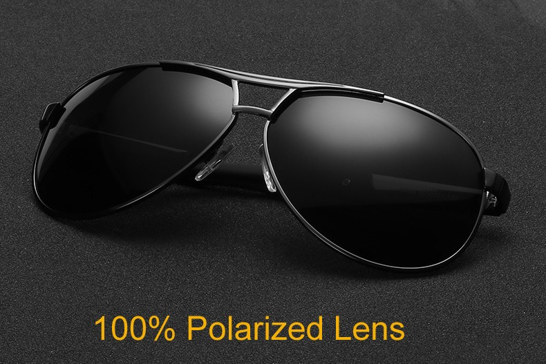 100% Polarized Lens Black Aviator
