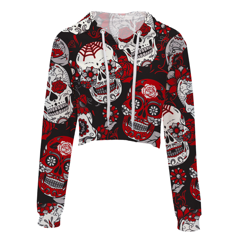 Drop Shipping 2018 new 3D printed Skulls Women  Crop Tops Hoodie Sweatshirt harajuku Girls Sexy Long Sleeve  Hooded Clothes