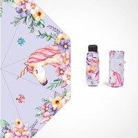 Hot Sale INS Unicórnio Unicórnio Mulher Mini Folding Sombrinha Guarda-chuva À Prova de Vento Protetor Solar UV Guarda-chuva de Vinil Portátil luz Parasol