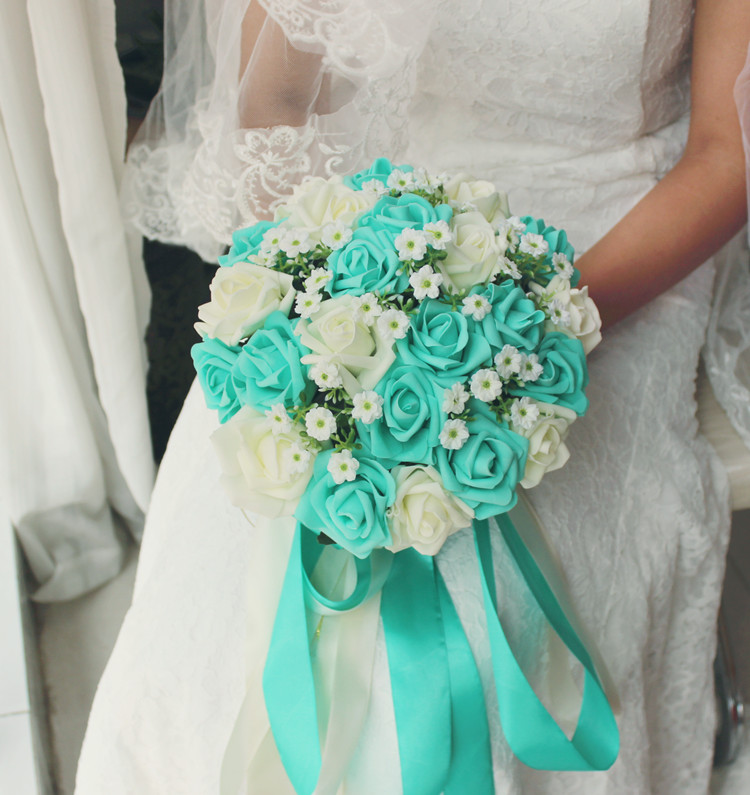 Turquoise Green Ivory Wedding Bouquet Flowers Bridal Centerpieces Decorations Silk Ribbon Fake Flower In Artificial Dried
