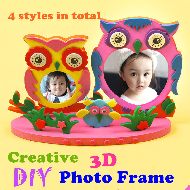 Children DIY 3D Photo Frame Handmade EVA Stickers Kids DIY Stereo Photo Frame Kindergarten Manual Puzzle DIY Toys Craft Toys