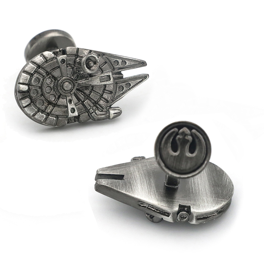 Men's Star Wars Cufflinks Vintage Gunblack Plating Airship Design Quality Brass Material Film Cuff Links