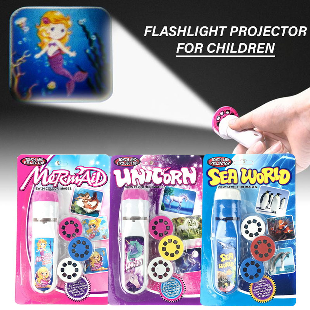 Mini Projector Torch Educational Light-up Toys Kids Flashlight Space Sea World Mermaid Dinosaur Light Projection Lamp Led Set