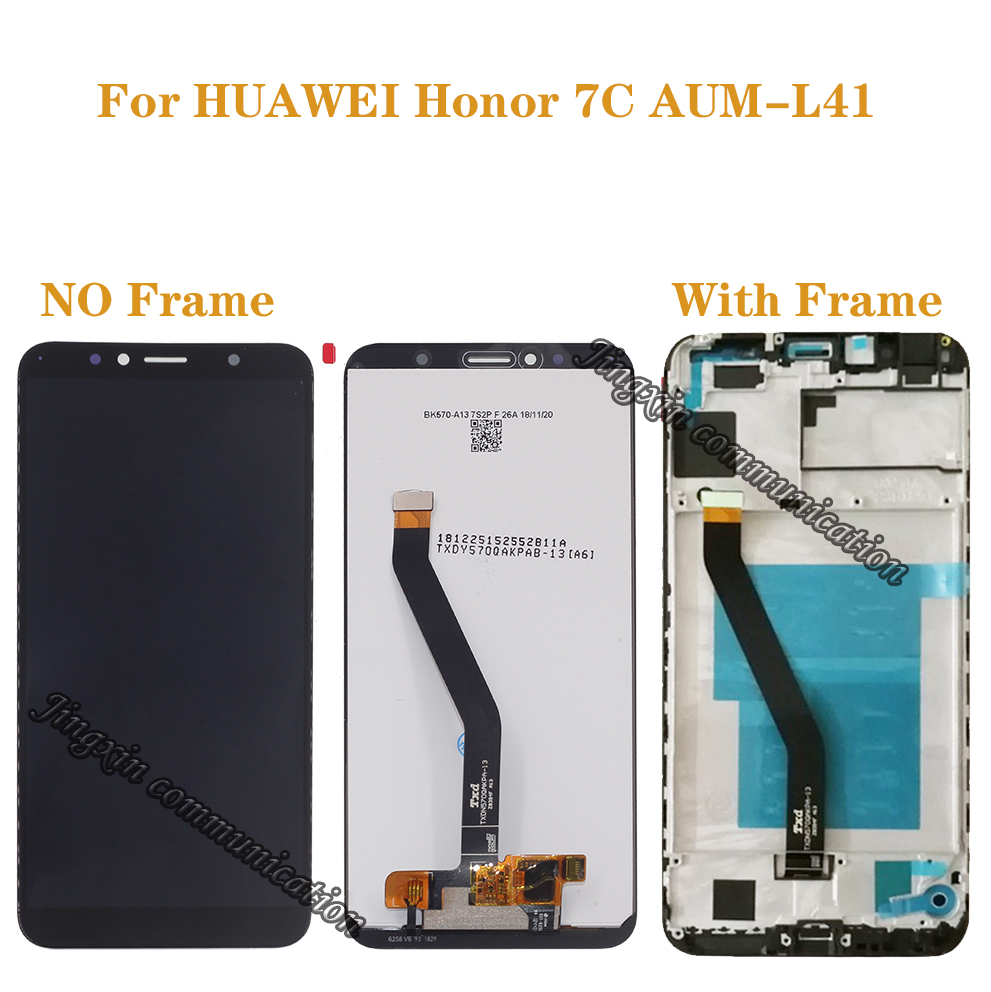 "New 5.7"" LCD for Huawei Honor 7C Aum L41 LCD + touch screen digitizer components with frame display repair parts + tools-in Mobile Phone LCD Screens from Cellphones & Telecommunications"
